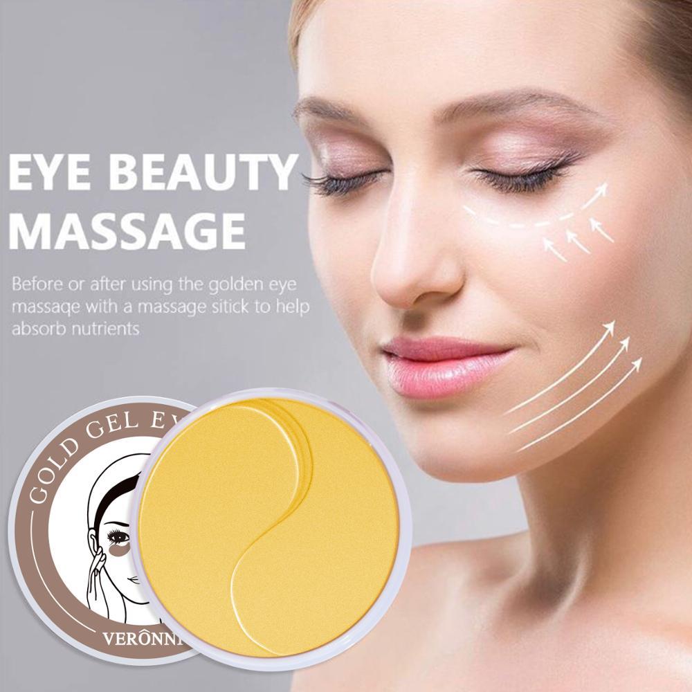 VERONNI 60pcs Gold/Seaweed Collagen Eye Mask Face Anti Wrinkle Gel Sleep Eye Patches Collagen Moisturizing Eye Mask Eye Care