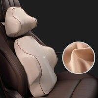 Almohada de espuma de memoria 3D para el cuello  cojín de asiento de coche  soporte Lumbar Universal  accesorios para el coche