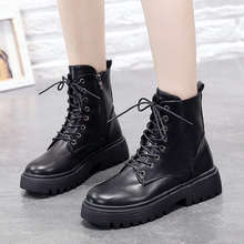 Autumn Martin Boots 2019 New Western Cowboy Women Fashion Punk Leather Black White Platform Ankle