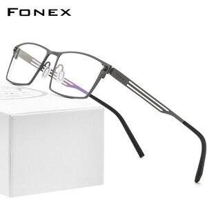 Мужские оправы для очков FONEX из чистого титана, квадратные очки по рецепту для женщин и мужчин, оптические Безвинтовые очки для близорукости...
