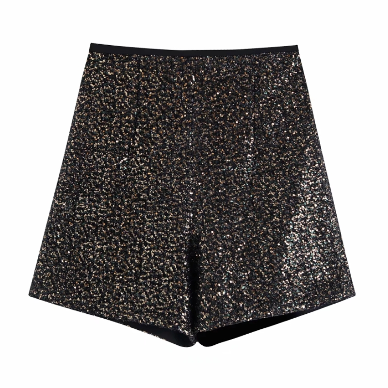 2020 Women Fashion High Street Sequins Hot Shorts Ladies Side Zipper Chic Shorts Brand Pantalones Cortos Short Pants P592