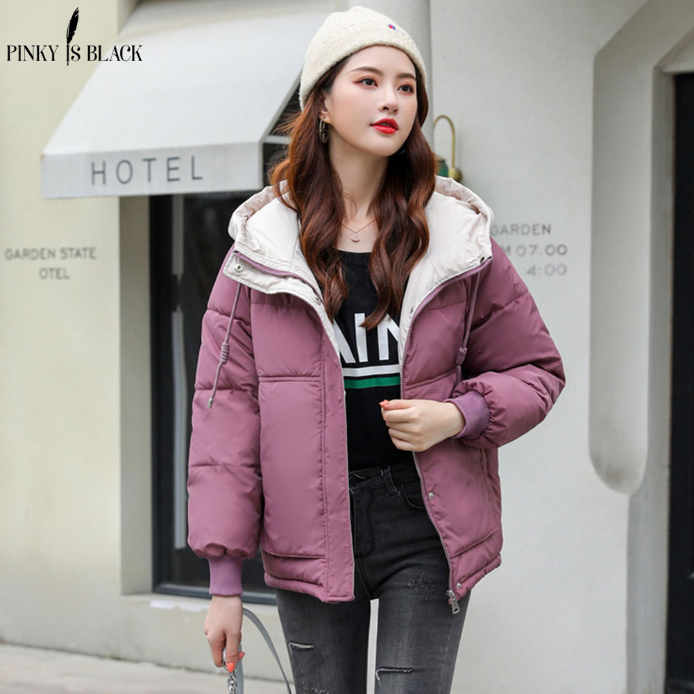 PinkyIsBlack New Short   Parka   Women 2019 Snow Wear Winter Jacket Women Coats Hooded Ladies Coat Female Thick Cotton Padded Jacket
