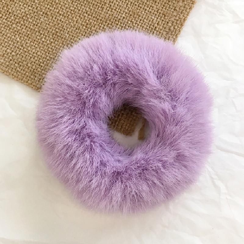 Новые зимние теплые мягкие резинки из кроличьего меха для женщин и девушек, эластичные резинки для волос, плюшевая повязка для волос, резинки, аксессуары для волос - Цвет: 37