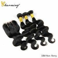 CHARMING Human Hair Bundles With Closure Brazilian Body Wave 4pcs/lot Natural Color Lace Closure Human Hair Extension 8 26 Inch