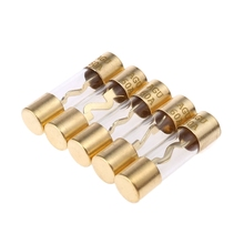 лучшая цена 5Pcs Gold Plated Glass AGU Fuse Fuses Pack Car Audio Amp Amplifier 60A 80A 100A