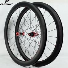 Pasak 700C Carbon Wheelset Clincher Tubeless Road Bike Wheels V C Brake 40mm 50mm 55mm 3K Twill Rims Width 25mm Sealed Bearing цена 2017