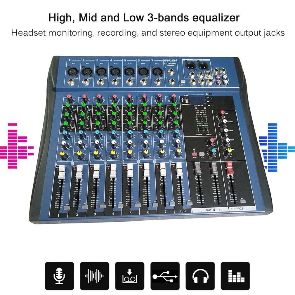 CT8 8 Kanaals Professionele Stereo Mixer Live Usb Studio Audio Geluid Console Netwerk Anker Apparaat Vocale Effect Processor - 5