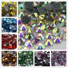 All Sizes Color Crystal AB Glass Glitter Iron On Strass Flat Back Hotfix Rhinestones For Nail Art Sewing & Fabric Decoration