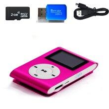2 Гб памяти автомобиля мини USB Клип ЖК-экран MP3 музыкальный плеер Поддержка MP3-плеер USB линия передачи данных наушники спортивный металлический музыкальный плеер