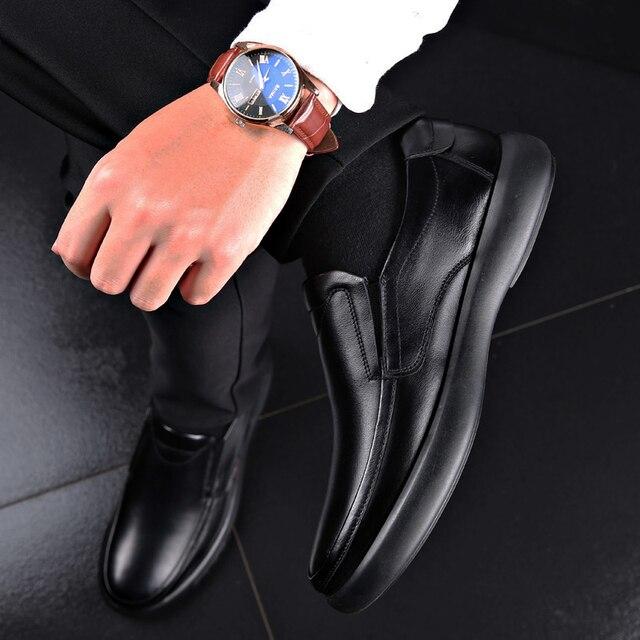 Классические мужские туфли из кожи городский стиль 5