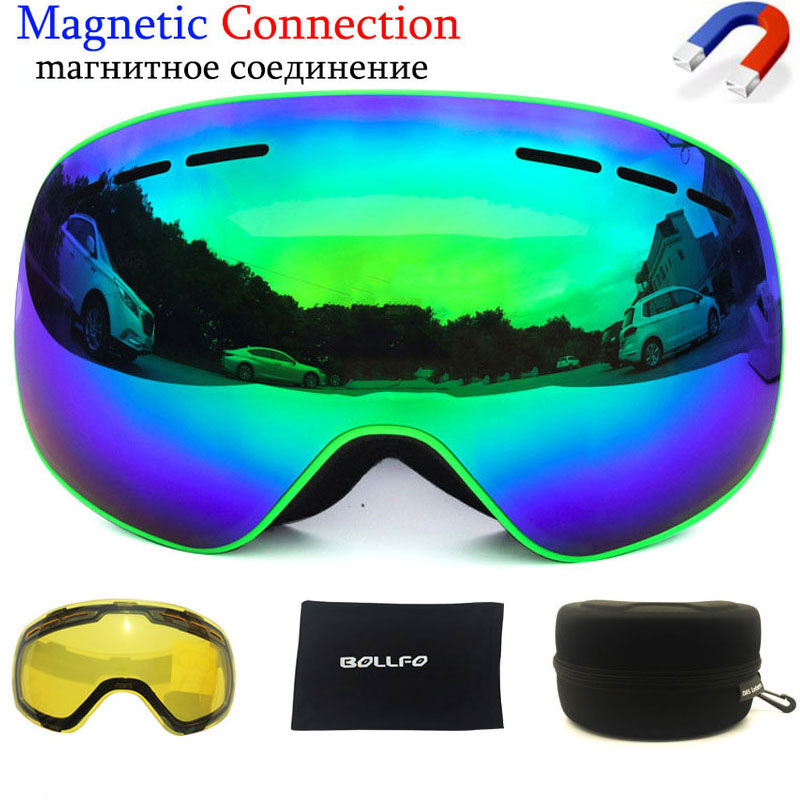 Magnetic Ski Goggles With Quick-change Lens 100% UV400 Protection Anti-fog Snowboard Goggles For Men & Women Skiing Glasses Set
