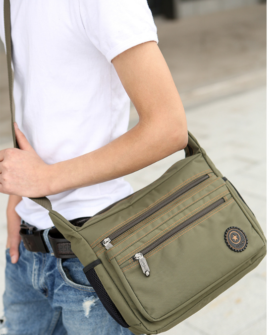 Casual Men Waterproof Cloth Briefcase Mens Multi Layer Army Green Work Bag Outgoing Business Trip Bags Bolso Hombre DF335