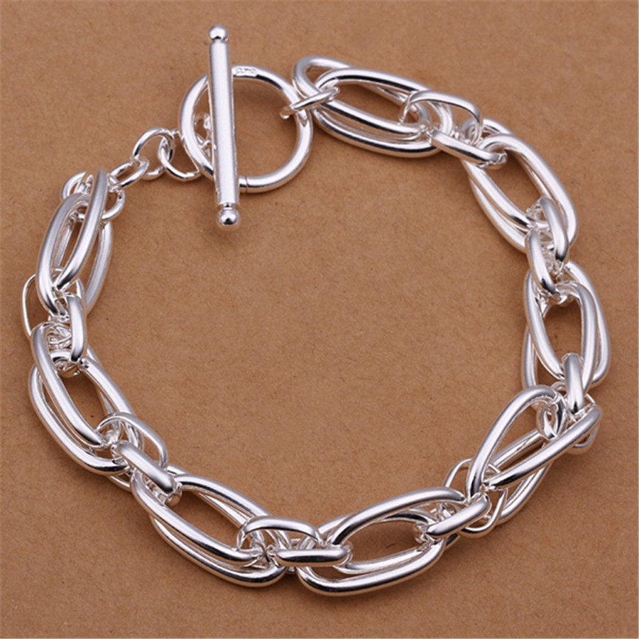 Wholesale price men women chain silver color plated bracelets noble wedding gift party fashion jewelry Christmas gifts JSHH320