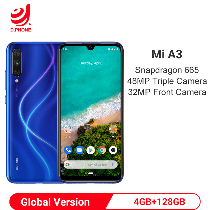 Global Version Xiaomi MI A3 4GB 128GB Android One Snapdragon 665 Octa Core 6.088