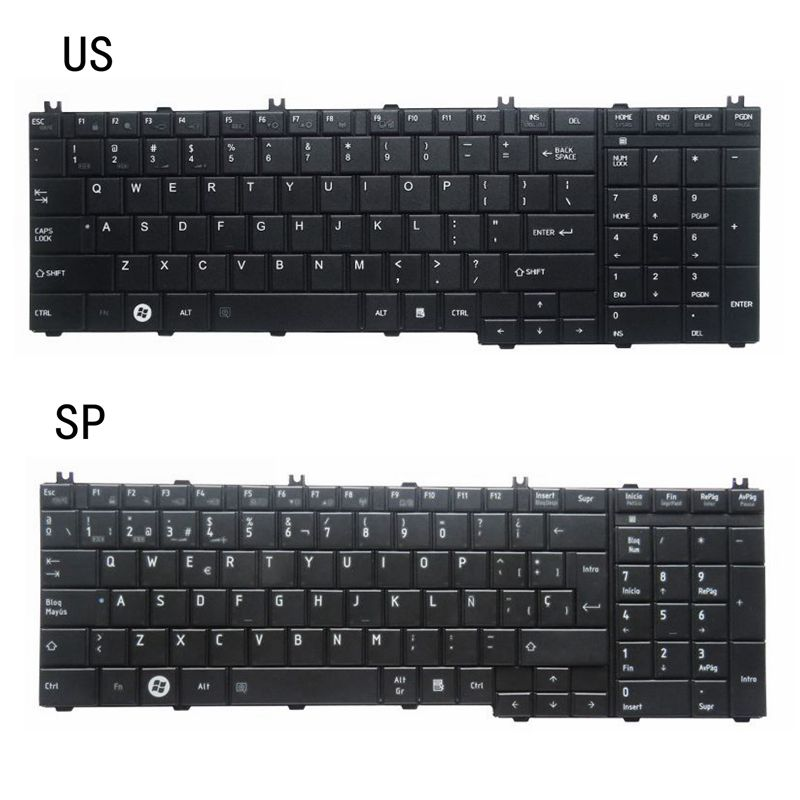 NEW US/SP LAPTOP KEYBOARD FOR Toshiba Satellite C650D C650 C655 C655D C660 C660D C670 L675 L750 L755 L670 L650 AER15U00310