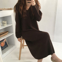 Straight-Sweater-Dress Knitted V-Neck Over-The-Knee Temperament Loose Long-Sleeved And
