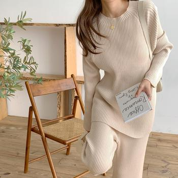 2020 Autumn Winter Women Suits Chic Korean Style Knitting Two Pieces Set Pullovers Tops+Elastic Ankle-Length Pants