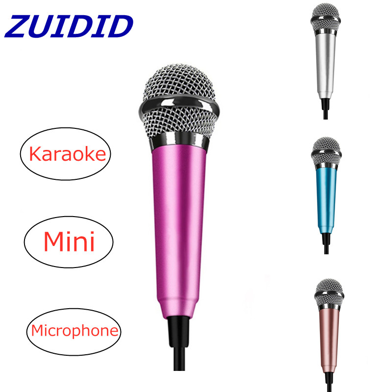 4 Colors Mini Mobile Phone Karaoke Microphone Braided Cable Metal Small Mic Comes With Adapter|Microphones| - AliExpress