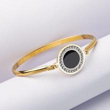 High-grade Heart Cross Bangle 316l Stainless Steel Bracelet Women Gold Circle Square Shape Girls Best Gift
