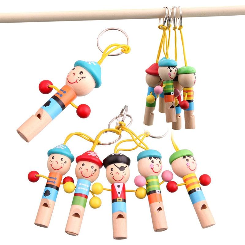 1 шт. с изображением мультипликационных персонажей для детей Обучающие игрушки мини-пират для укладки волос небольшие деревянные свистки и...
