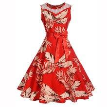 Sleeper # W401 vestido de mujer 2019 de moda sin mangas Floral Hepburn Vintage Swing de cintura alta plisado vestido платье женское fiesta