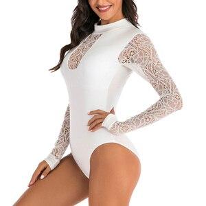 Image 4 - Riseado döküntü bekçi uzun kollu tek parça mayolar yüzme sörf takım elbise seksi örgü mayo kadın See Through Beachwear