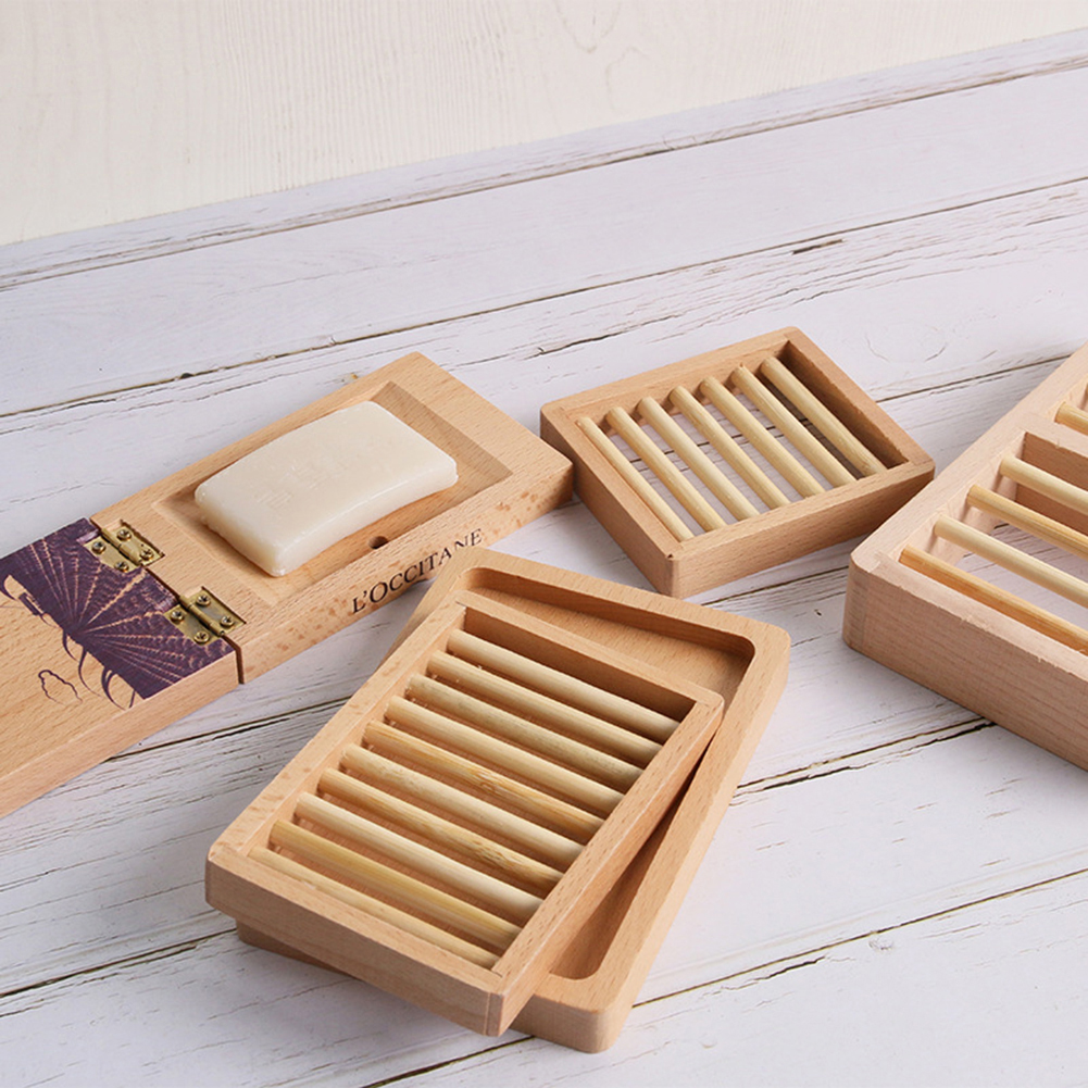 10pcs Natural Bamboo Wood Soap Dish Storage Holder Bath Shower Plates Bathroom