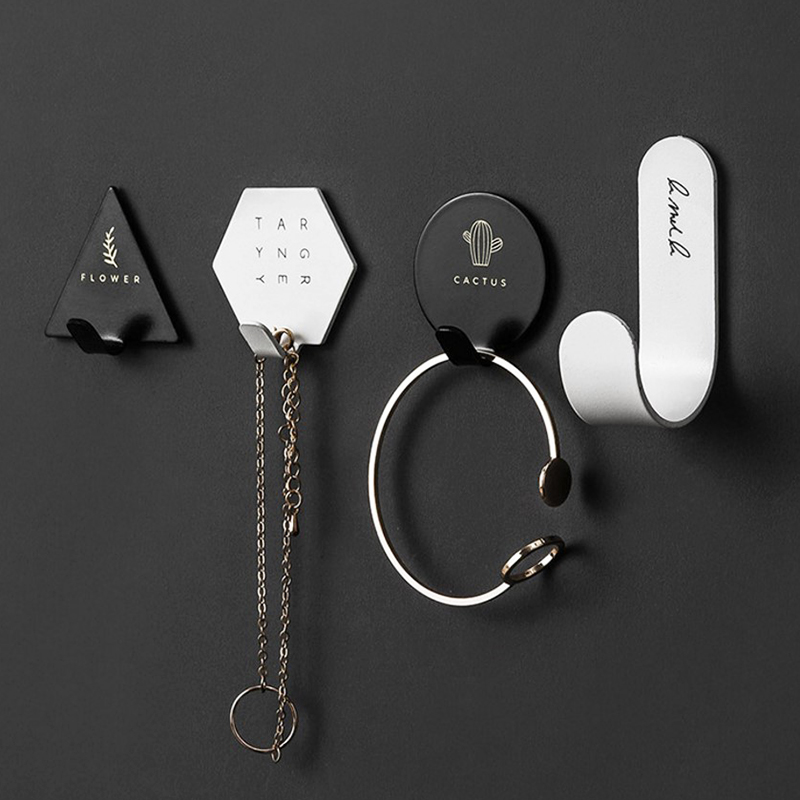 4pcs Iron Suction Wall Hooks Hanger Creative Letter Cactus Wall Sucker Waterproof Key Bag Holder Black White Bathroom Wall Hooks