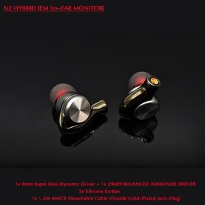 Image 1 - N2 Hifi спортивные наушники для телефона ONEPLUS MI 8 мм Super Bass DD + 29689 BA драйвер с MMCX 1,2 м Съемный кабель