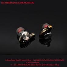 N2 Hifi ספורט אוזניות עבור טלפון ONEPLUS MI 8mm סופר בס DD + 29689 BA נהג עם MMCX 1.2M להסרה כבל