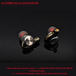 Image 1 - N2 esportes de alta fidelidade fone ouvido para o telefone oneplus mi 8mm super bass dd + 29689 ba driver com mmcx 1.2m cabo destacável