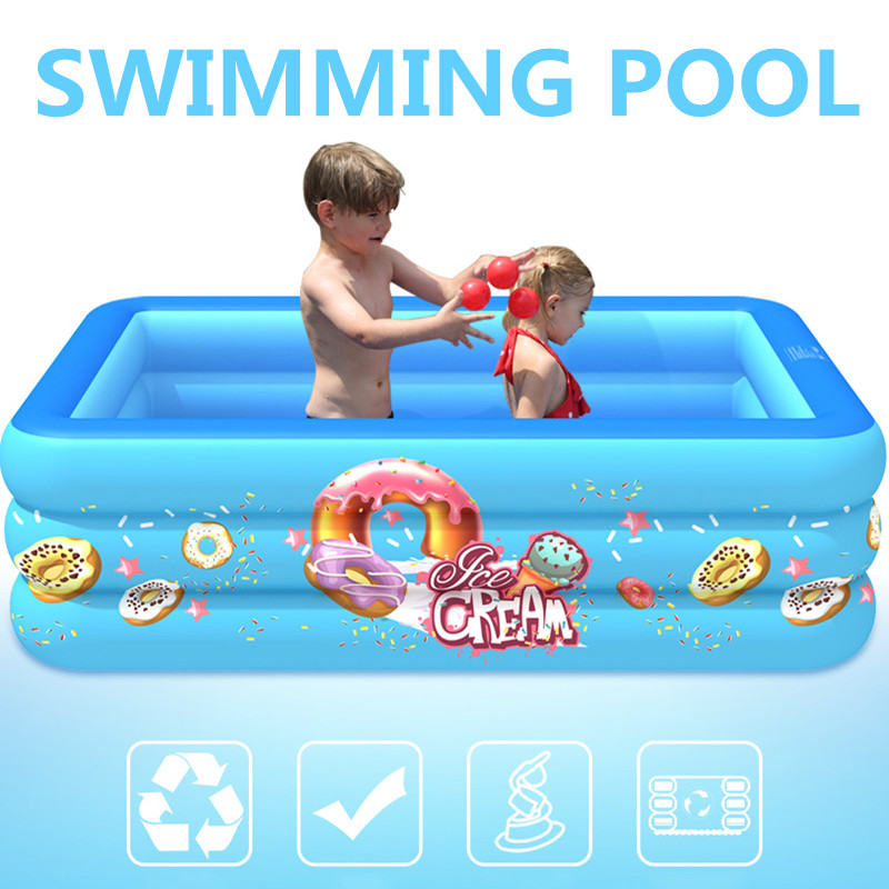 Kids Inflatable Pool High Quality Child Home Use Paddling Pool Large Size Inflatable Bubble Bottom Square Swimming Pool For Baby