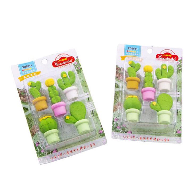 5 Pcs/pack Cute Green Plant Cactus Series Eraser Set Rubber Pencil Erasers Primary Student Prizes Promotional Gift Stationery