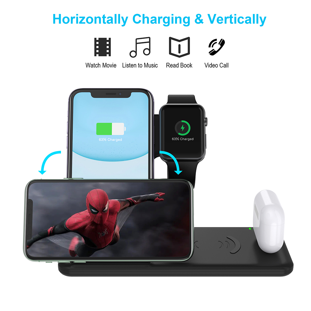 4 in 1 <font><b>Qi</b></font> Wireless Charger For Airpods Apple <font><b>Watch</b></font> 4 3 2 1 iWatch Fast Wireless Charging Pad For iPhone 11 Pro Xs Max X image