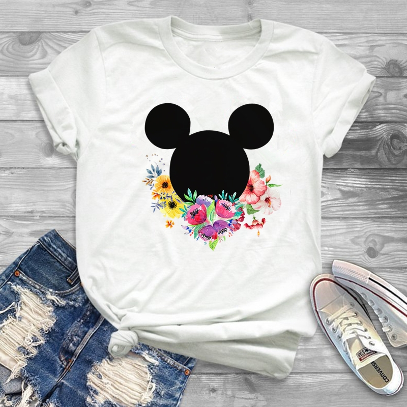 Women Minnie T-Shirt Mouse Ear Shirt Girl Tumblr Tee Hipster Matching T Shirt Cute Holiday Tees