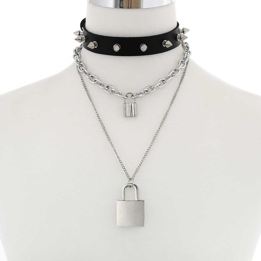 Punk lucchetto catena collana donne/uomini goth picco del collare del choker goth pendente collana in pelle nera emo dei monili