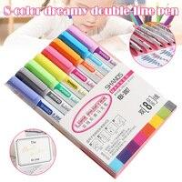 8 pcs 더블 라인 컨투어 펜 컬러 마커 펜 학생 마커 편지지 세트 판매
