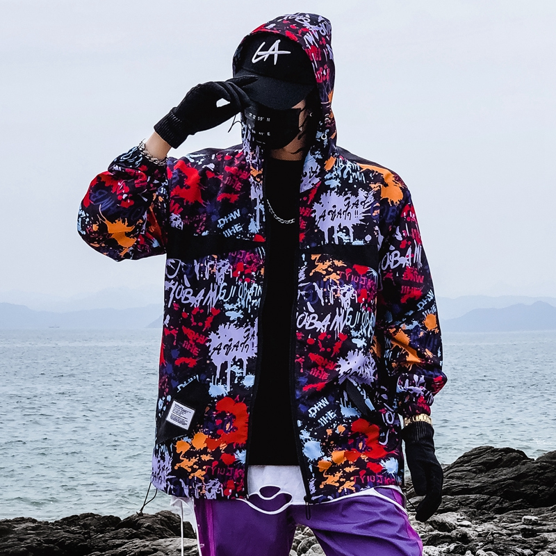 Graffiti Print Jacket Men Hip Hop Windbreakers Hoody Jacket Slim Fit Mens Spring Autumn Summer Streetwear Thin Coat