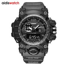 AIDIS męski zegarek wojskowy 30m zegarek wodoodporny LED zegarek kwarcowy sportowy zegarek męski relogios masculino Sport S zegarek odporny na wstrząsy mężczyzn tanie tanio Addies 24 inch QUARTZ Podwójny Wyświetlacz 3Bar Klamra RUBBER 17 5mm Akrylowe Kwarcowe Zegarki Na Rękę Nie pakiet 56mm