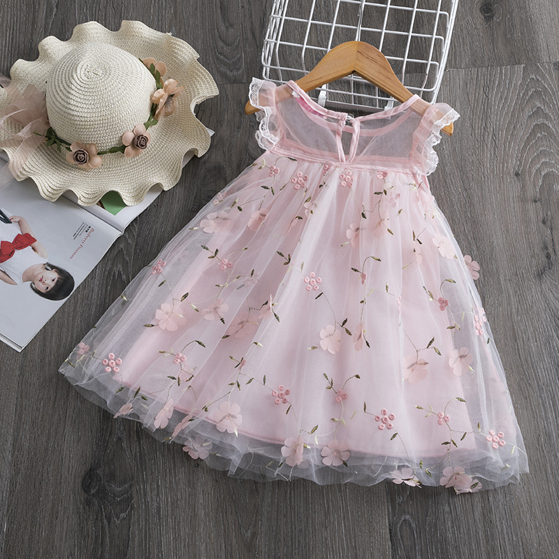 2020 New Girl Princess Dress New Summer Kid Girls Dress Floral Sweet Children Party Suits Wedding Mesh Costume Children Clothing
