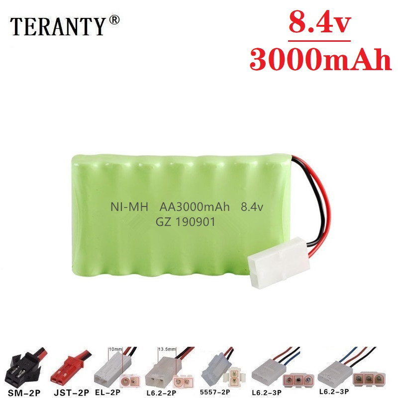 ( M Model ) 8.4v 3000mah NiMH Battery For Rc toy Car Tanks Trains Robot Boat Gun Ni-MH AA 2400mah 8.4v Rechargeable Battery 1Pcs image
