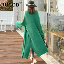 RUGOD Korean loose Cardigan sweater women Fashion long style split knitted office lady Cardigans Vintage solid auturm warm coat