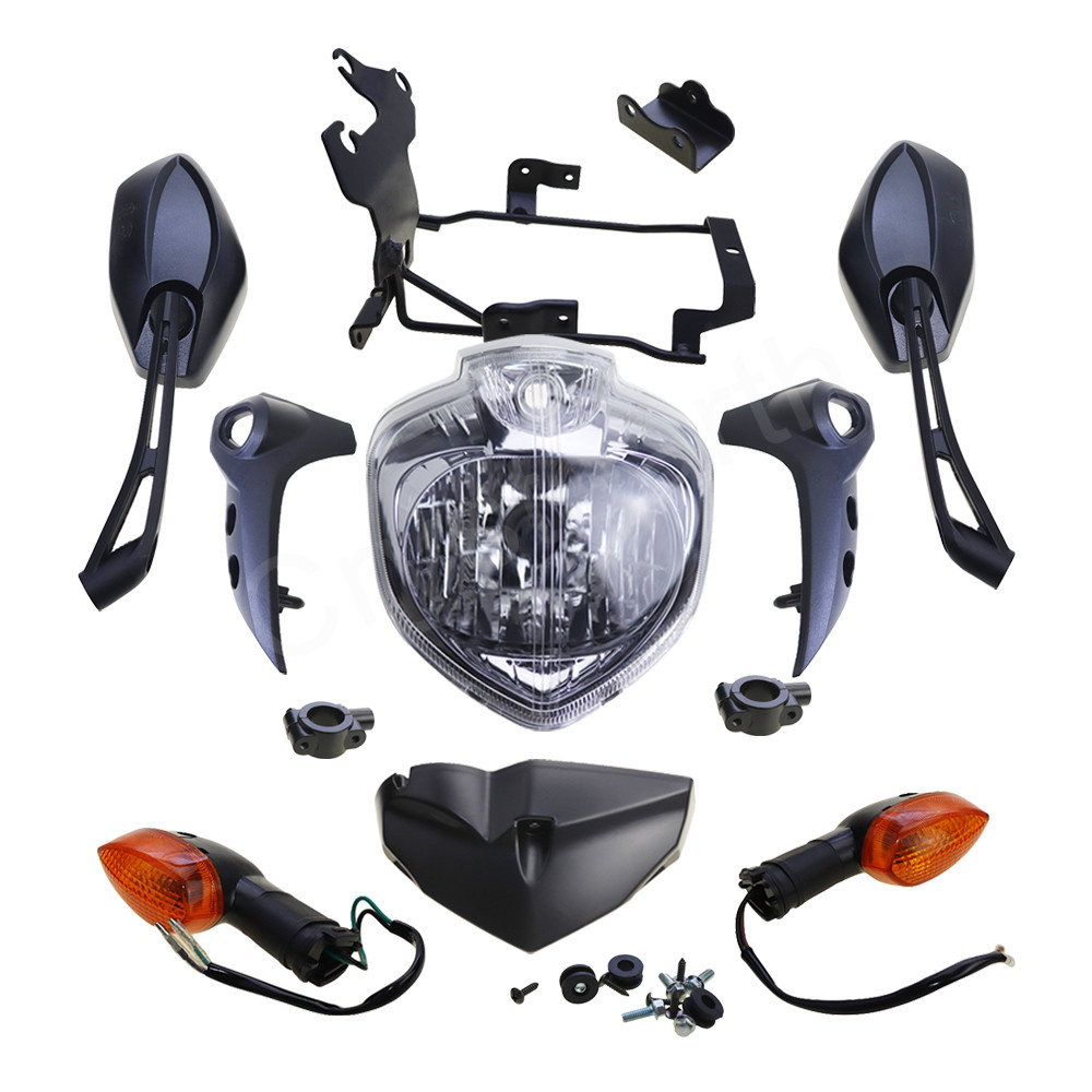 For Yamaha FZ6 FZ-6N FZ6N FAZER FZ6S 2007-2010 Motorcycle Headlight Headlamp Assembly Kit Turn Signals Rear View Mirrors Adapter