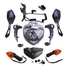 Комплект фар для мотоцикла Yamaha FZ6 FZ 6N FZ6N FAZER FZ6S 2007 2010, комплект фар головного света, сигналы поворота, адаптер для зеркала заднего вида