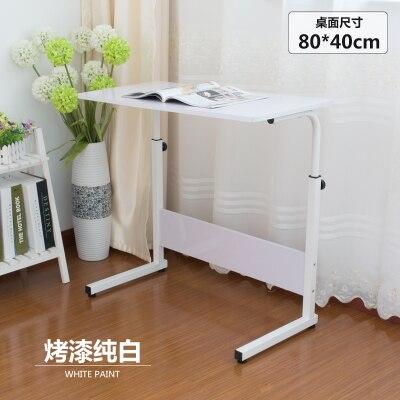 Домашний простой стол для ноутбука портативный легкий подъем подвижный настольный компьютерный стол ленивый прикроватный столик серповидный обеденный стол с грузовиками - Цвет: white