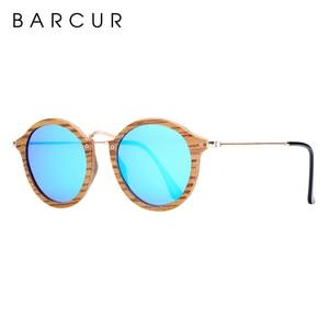Image 2 - BARCUR Zebra Wood Sunglasses Handmade Round Sun Glasses Men Polarized Eyewear with Box Free