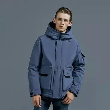 Xiaomi 90 homem inverno quente com capuz curto jaqueta 90% pato para baixo à prova dwaterproof água outwear solto casaco - 3