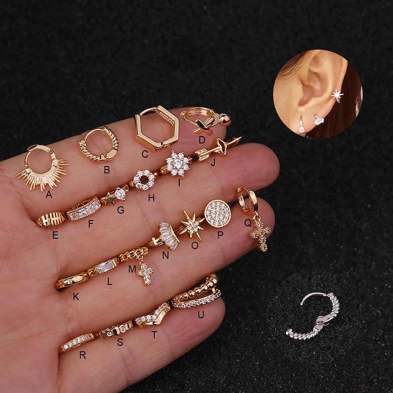 Feelgood 1Pc ローズイエローホワイトゴールドカラーのファッション小さなフープ耳ピアスジュエリーらせん軟骨珠ルーク Daith イヤリング