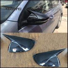 รถจัดแต่งทรงผม Glossy สีดำคาร์บอนกระจกมองหลัง Horn Cap Trim สำหรับ VW Golf 6 MK6 R VI 2009 2012อะไหล่รถยนต์