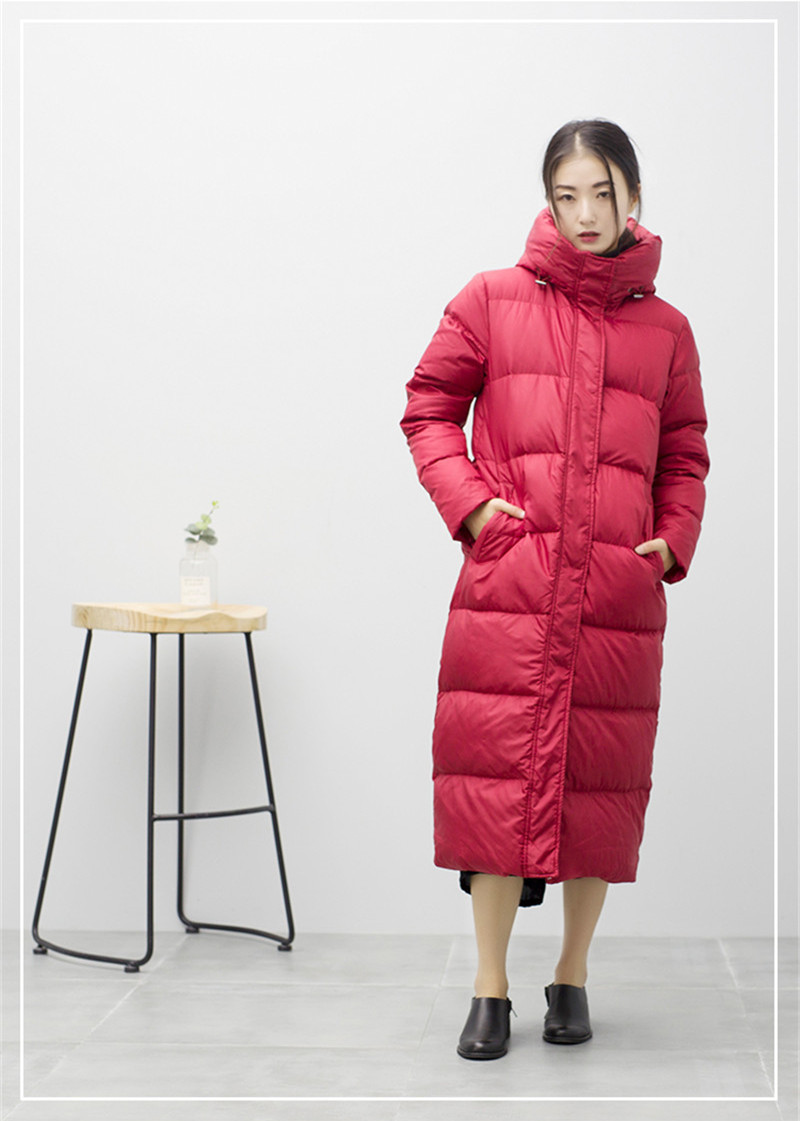 White Women's Duck Down Jacket Fashion Women Long Parka Warm Winter Coat Female Hooded Jackets Abrigo Mujer WXF365 S